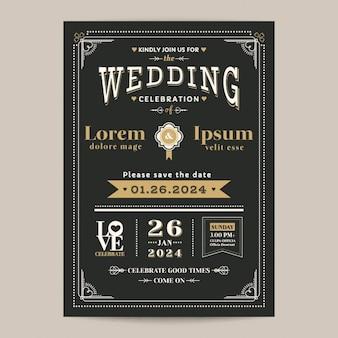 黒とゴールド色のヴィンテージの結婚式の招待状カード