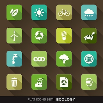 Набор зеленых экологии плоских иконок с длинной тенью