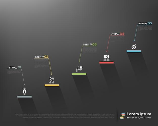 灰色の背景グラフィックデザインテンプレートに成功オプションに現代のビジネス階段のステップ