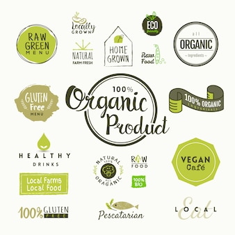 Набор органических этикеток и элементов пищевых продуктов