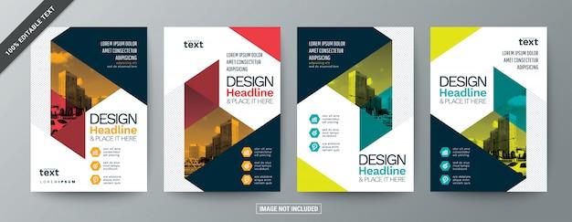 編集可能なテキストを含む現代ビジネスのパンフレットチラシのセット