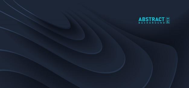 暗い青色の背景に抽象的な波及効果。紙のカットスタイルで影の流れ液体曲線形状。