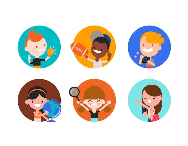 Дети персонаж с различными объектами в стиле плоский дизайн изолированы. разнообразие детского портрета со своими увлечениями. мультфильм иллюстрация.