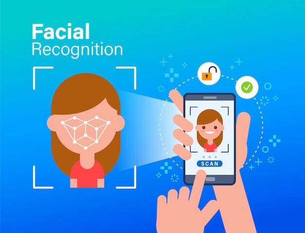 Идентификация лица, распознавание лиц, биометрическая идентификация, личная проверка. мобильное приложение для распознавания лиц. использование смартфона для сканирования лица человека. плоский стиль концепции иллюстрации.