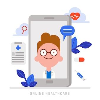 オンライン医療健康管理の概念図。スマートフォンで医師からの医療アドバイス。医療アイコンとフラットなデザインの漫画のキャラクター。
