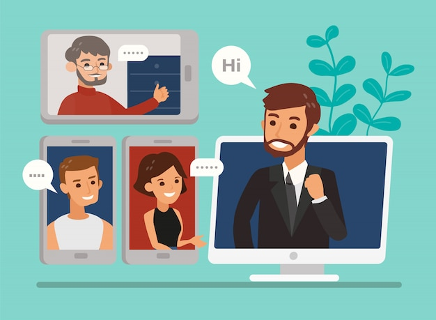 ビデオ会議通話を介して開催されたビジネスチーム会議でのリモート作業。フラットなデザインスタイルのオンライン会議の概念図。オンラインウェビナー、在宅勤務。