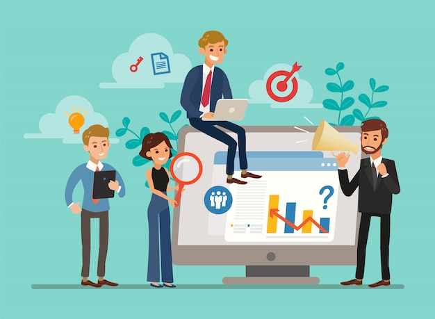 Иллюстрация крошечных персонажей бизнес-аналитиков или аудиторов, анализирующих статистические данные для принятия стратегических бизнес-решений на большом экране компьютера. концепция аналитики.