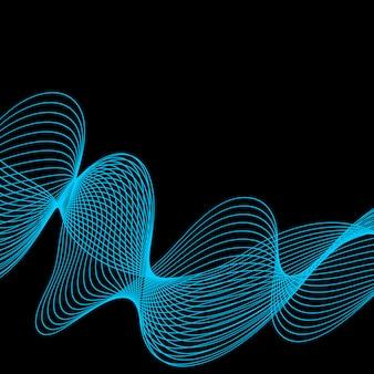 Синяя абстрактная волна на черном фоне