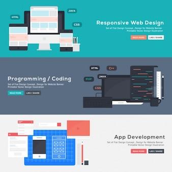 Веб-дизайн набор баннеров