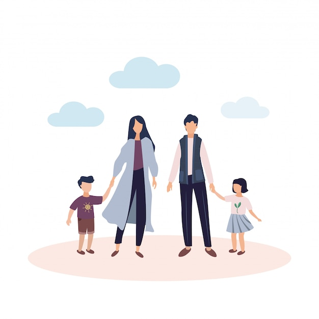 Счастливая семья . мо р и отец с дочерью и сыном. родители с детьми под ясным небом с облаками. иллюстрация в плоском стиле