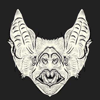 Гравюра с изображением головы летучей мыши
