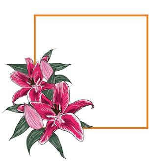 エレガントなハイビスカスの花のフレーム。