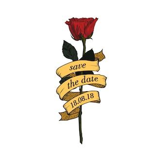 日付を保存、手描きのスケッチリボンイラストとバラ。