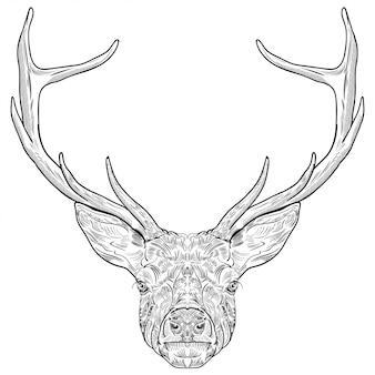 手で描かれた鹿の頭
