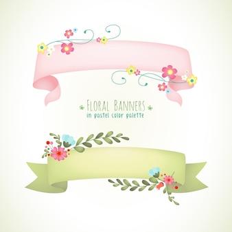 花のバナーのパステルカラー