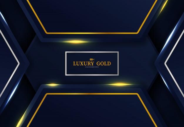 ゴールドとシルバーのテンプレートデザインの背景を持つ六角形の抽象的な暗いグラデーションブルー。