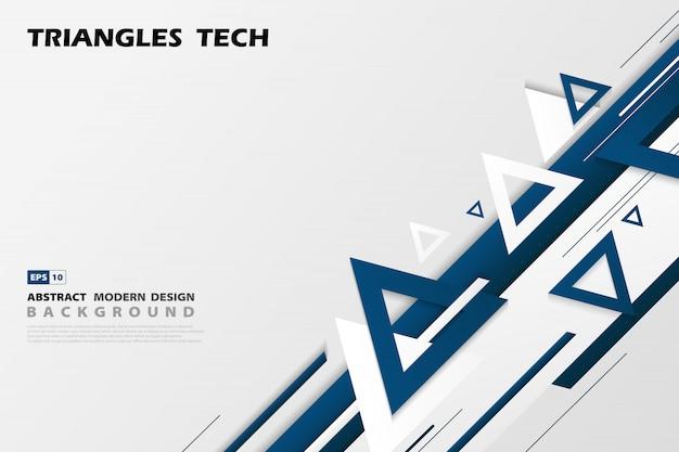 抽象的なグラデーションブルー三角形技術は、未来的なパターンスタイルのデザインをオーバーラップします。