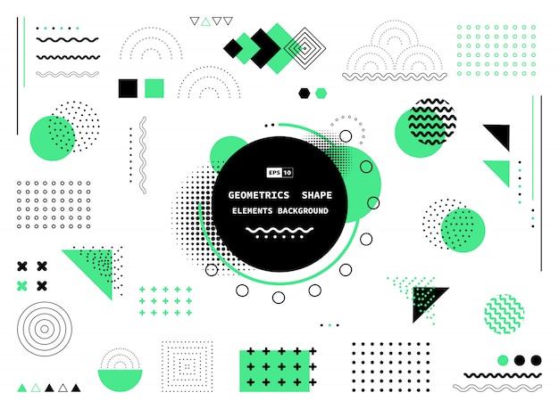Абстрактный зеленый и черный фон геометрических фигур