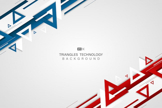 三角形の背景の抽象的な青赤技術色