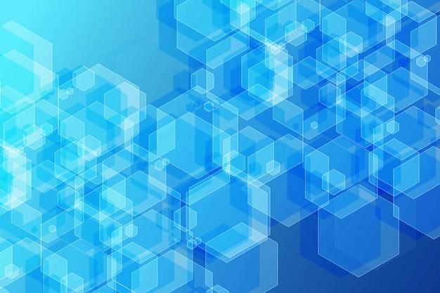 青色の背景に抽象的な白い六角形