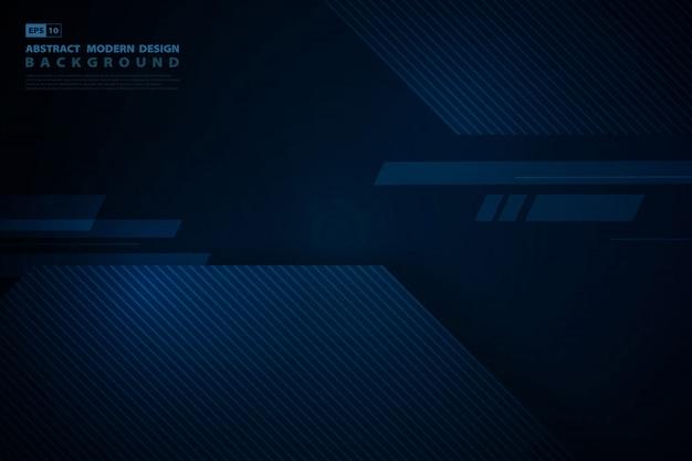 暗い背景の抽象的な青いハイテク正方形重複技術