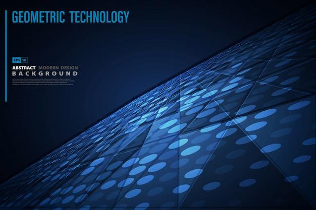 技術の背景の抽象的な青い未来的な幾何学模様。