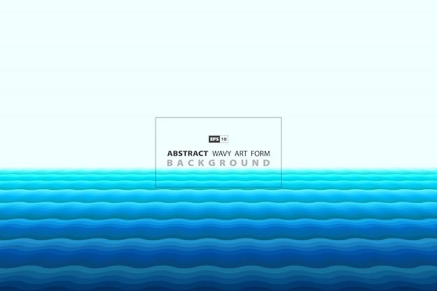 最小限のスタイルの装飾背景の抽象的な青い波状。