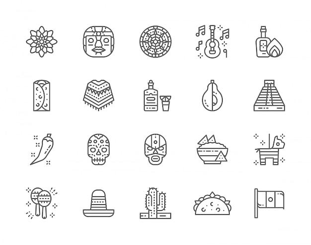 メキシコ文化ラインアイコンのセット。