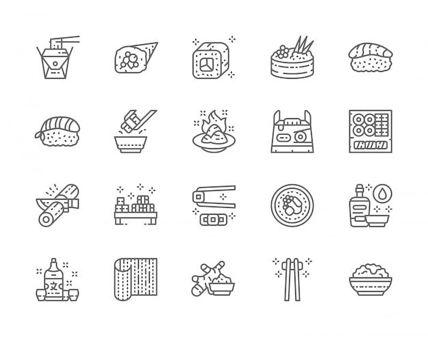 日本食と寿司ラインアイコンのセット。フィラデルフィアロール、ジンジャー、手巻き、握り、わさび、醤油、日本酒など。