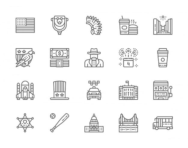 アメリカ文化ラインアイコンのセット。ハクトウワシ、カウボーイ、スクールバス、ファーストフード、保安官スターバッジ、カジノ、野球のバットなど。
