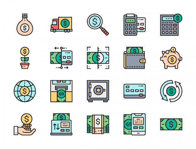 銀行のフラットカラーラインアイコンのセット。クレジットカード、ドル、支払いなど。