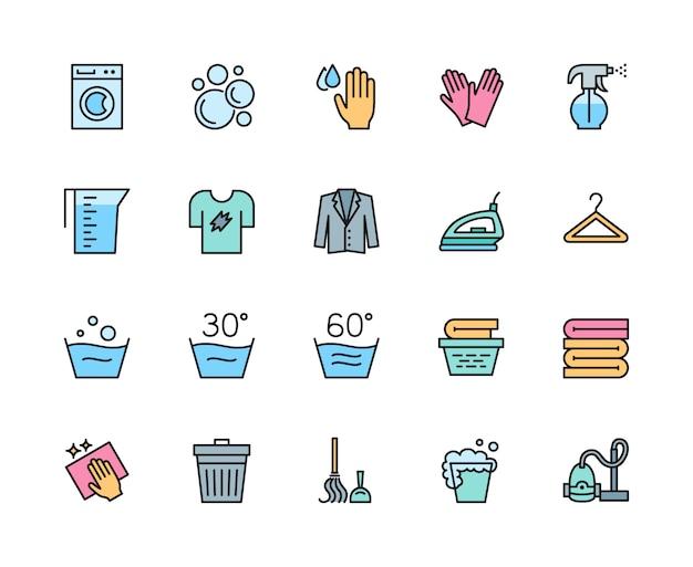 ランドリーとクリーニングカラーラインアイコンのセット。洗濯機、ハンガーなど。