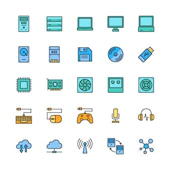 コンピューターコンポーネントの色線アイコンのセット。サーバー、ラップトップ、モニターなど。