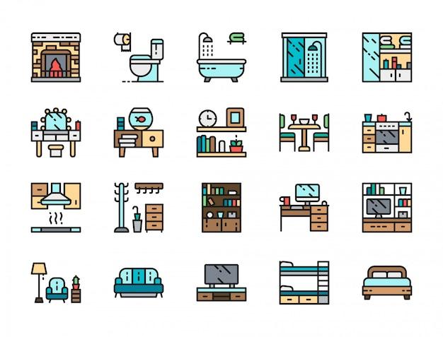 ホームインテリアカラーラインアイコンのセット。暖炉、トイレ、バスタブ、ソファなど