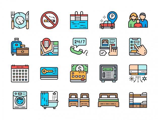 ホテルサービスの色線アイコンのセット。カトラリー、バスタブ、クレジットカードなど。