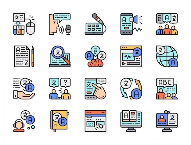 言語翻訳の色線アイコンのセット。オンライン教育、電子書籍など。