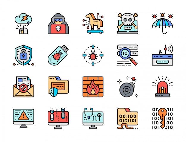 Набор иконок цветовой линии кибербезопасности. киберпреступность, шпионский агент, брандмауэр и многое другое
