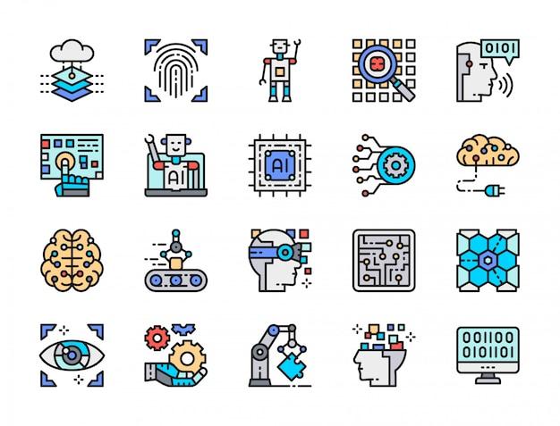 人工知能の色線アイコンのセット。エンジニアリング、コンベヤー、ビッグデータ