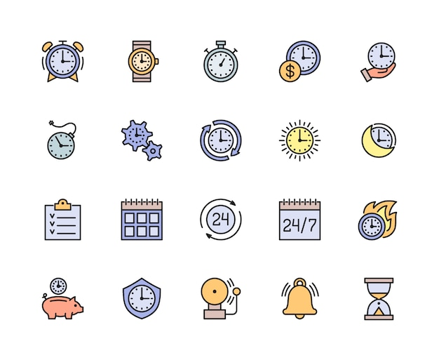 Набор значков времени линии управления цветом. календарь, расписание, контрольный список и многое другое.