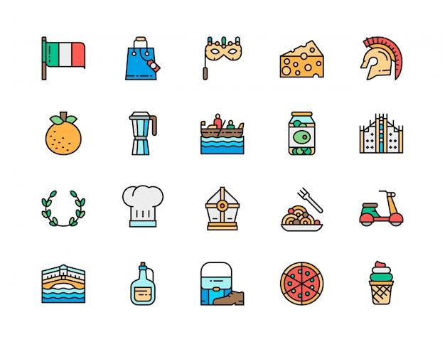 イタリア文化フラットカラーラインアイコンのセット。ゴンドラ、パスタ、ピザ