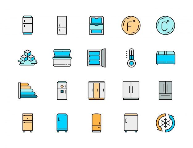 冷蔵庫フラットカラーラインアイコンのセット。温度計、冷凍庫、冷蔵庫