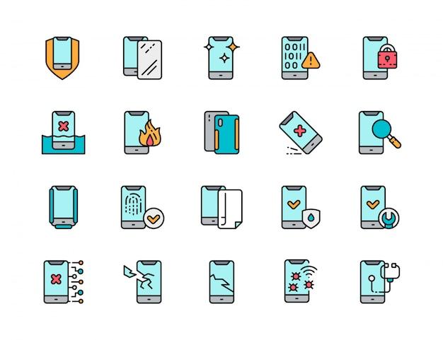 電話修理フラットカラーラインアイコンのセット。スパム、保護ガラス、ソフトウェアウイルス