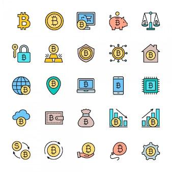 ビットコインフラットカラーアイコンのセット。マイニング、暗号交換、デジタルマネー