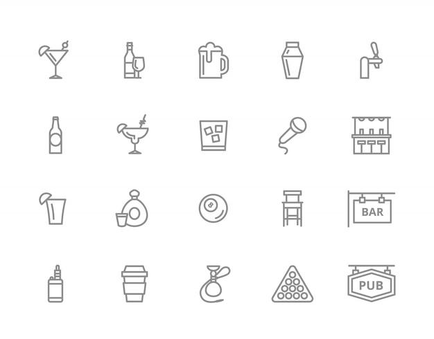 バーと夜のクラブラインアイコンのセット。カクテル、ワイン、ビールなど。