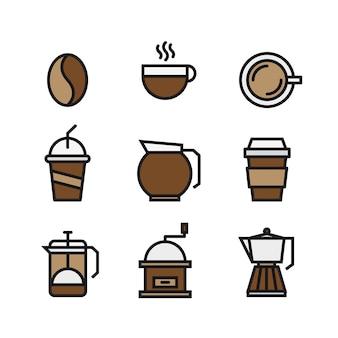 Набор кофе и пить плоские цветные значки
