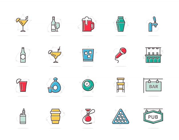 Набор алкоголя и бар цветные значки линии. коктейль, вино, пиво, чашка и многое другое.