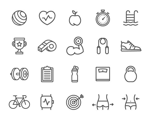 スポーツラインアイコンのセット。ターゲット、スマートウォッチ、自転車、ボトル、ダンベルなど