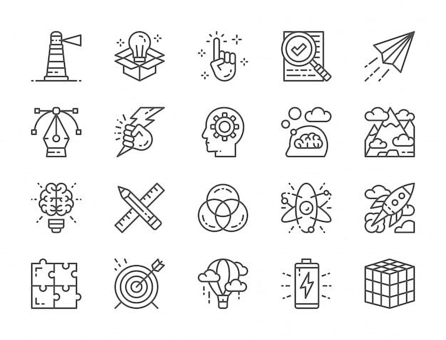 創造的な線アイコンのセット。チェックリスト、紙飛行機、イノベーション、バッテリーなど