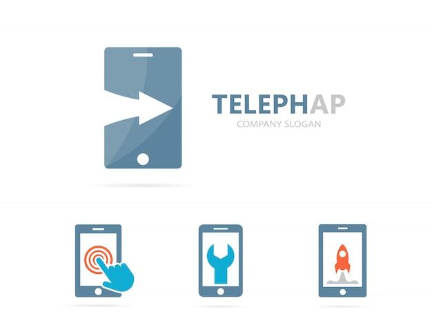 電話と上向きのロゴの組み合わせ。