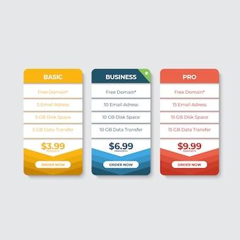 ウェブサイト価格表の定価リスト